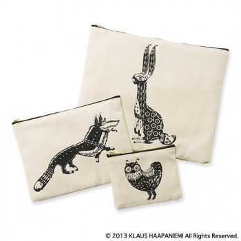 "SIMPLE POUCH - S ""OWL"" / M ""WOLF"" / L ""RABBIT"""