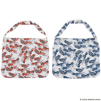 "LINEN TOTE BAG LARGE ""BIRD"""