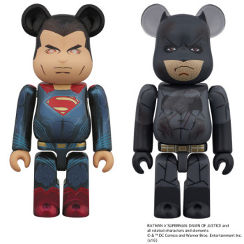 BE@RBRICK SUPERMAN (HEAT VISION Ver.) & BATMAN (DAMAGE Ver.) 2PACK