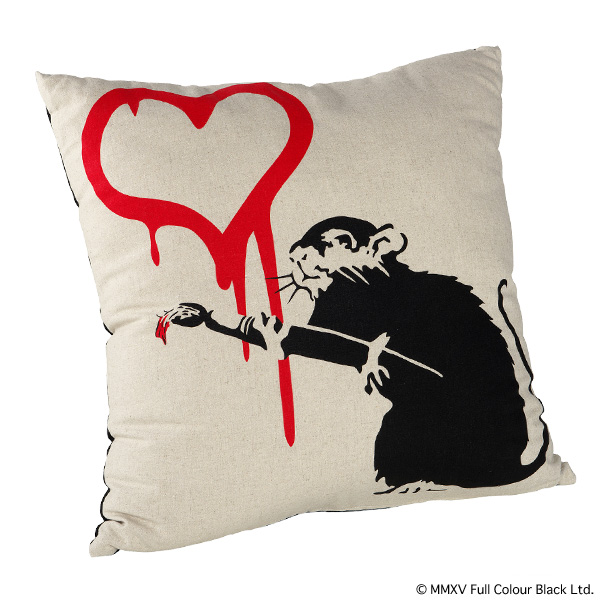 "SQUARE CUSHION ""LOVE RAT"""