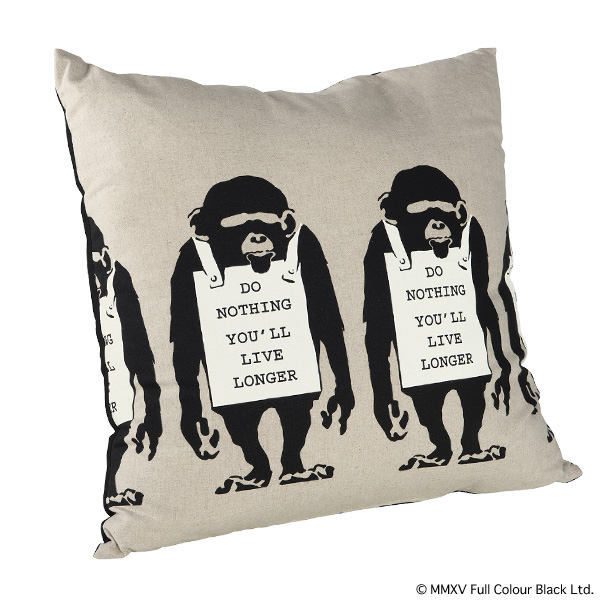 "SQUARE CUSHION ""MONKEY SIGN"""