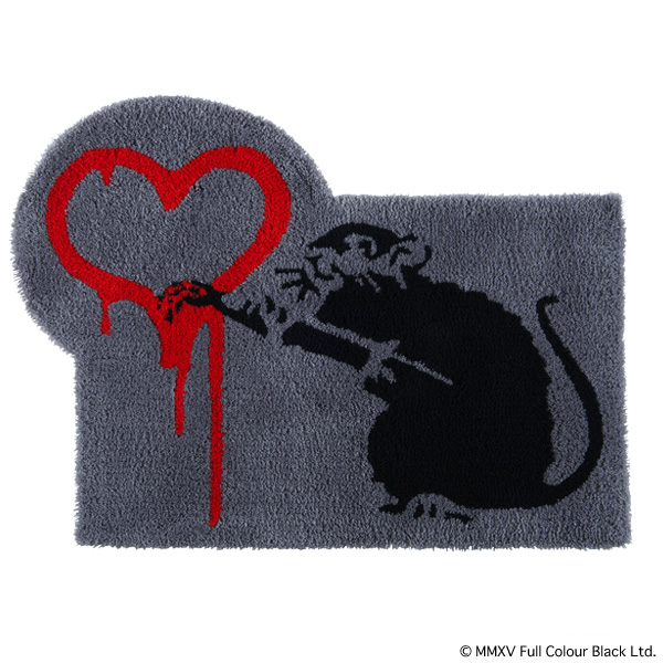 "RUG MAT GRAY ""LOVE RAT"""