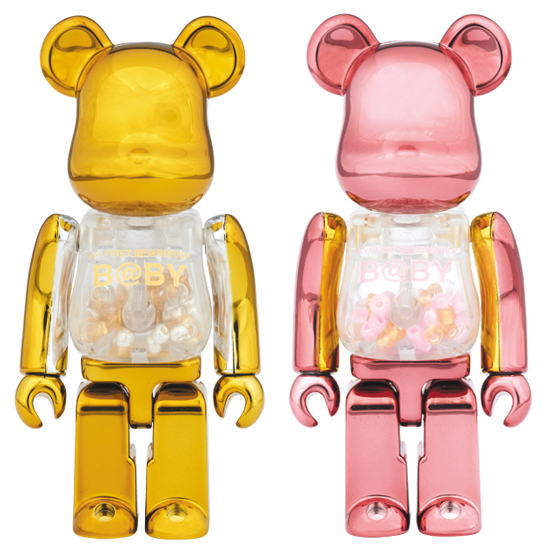 MY FIRST BE@RBRICK B@BY GOLD & SILVER Ver./ PINK & GOLD Ver. 100%