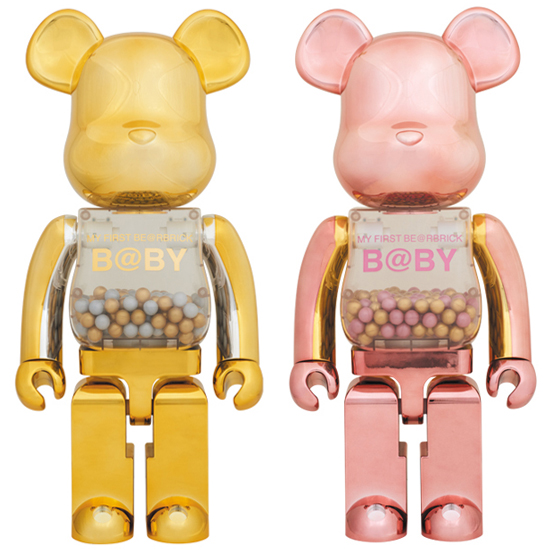 MY FIRST BE@RBRICK B@BY GOLD & SILVER Ver./ PINK & GOLD Ver. 1000%