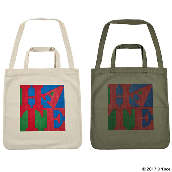 "HERRINGBONE 2WAY TOTE BAG ""HATE"""