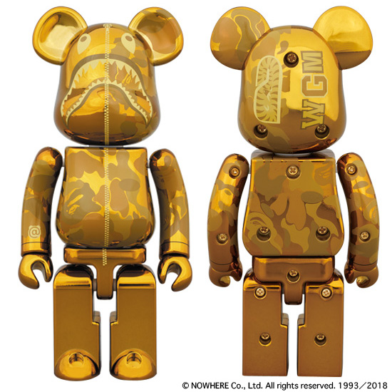 超合金 BAPE® CAMO SHARK BE@RBRICK GOLD