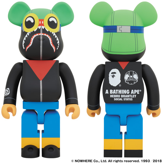 A BATHING APE® × HEBRU BRANTLEY × SOCIALSTATUS BE@RBRICK 1000%