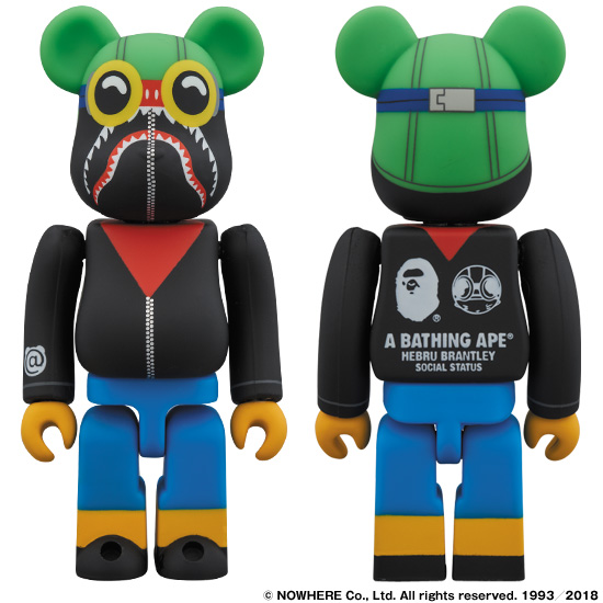 A BATHING APE® × HEBRU BRANTLEY × SOCIALSTATUS BE@RBRICK 100%
