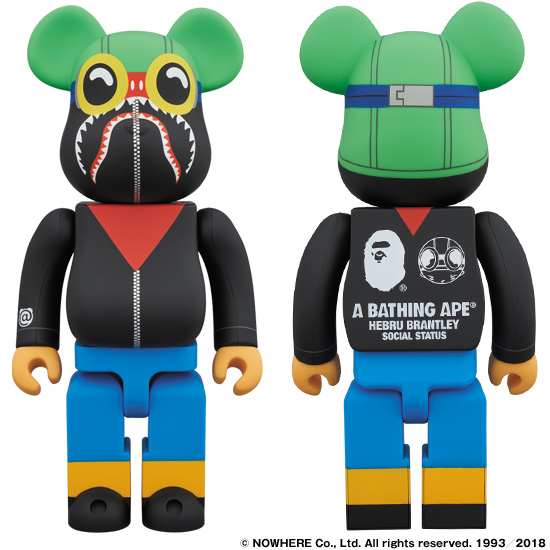 A BATHING APE® × HEBRU BRANTLEY × SOCIALSTATUS BE@RBRICK 400%