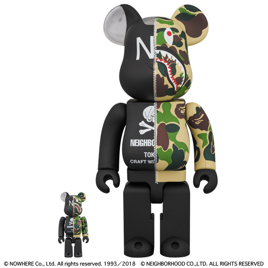 A BATHING APE®️ × NEIGHBORHOOD®️ BE@RBRICK 100% & 400%