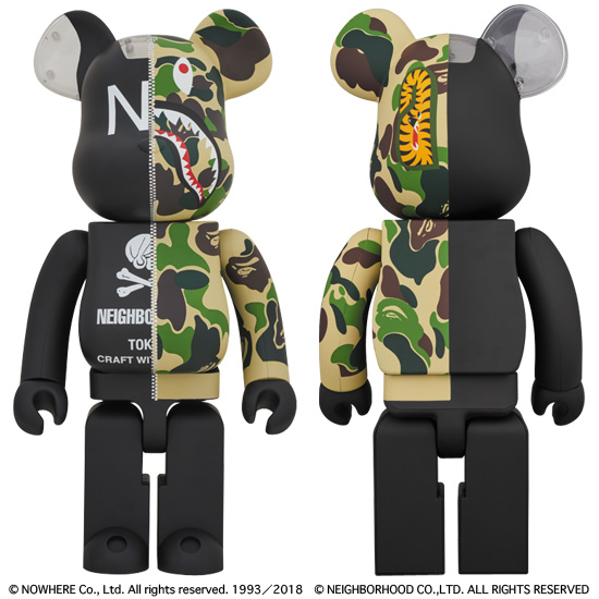 BE@RBRICK A BATHING APE® × NEIGHBORHOOD® 1000%