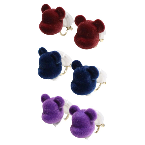 dix × BE@RBRICK / VELVET BE@RBRICK EARRING WINE/NAVY/PURPLE