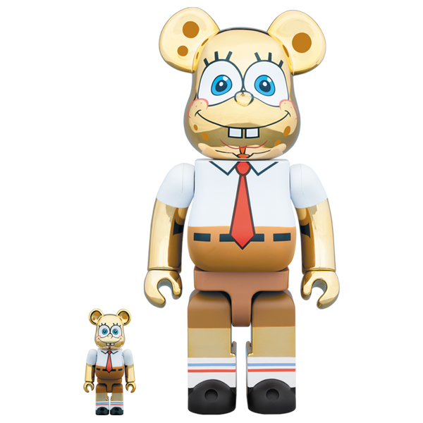BE@RBRICK SpongeBob GOLD CHROME 100% & 400%