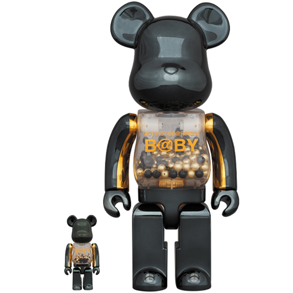 MY FIRST BE@RBRICK B@BY innersect BLACK & GOLD Ver.100% & 400%