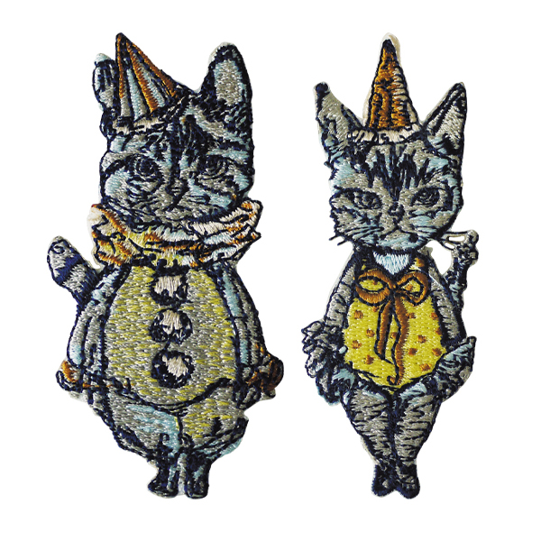 gris gris des BONBON オリジナル刺繍ワッペン/カードセット 猫の案内人(2個セット)