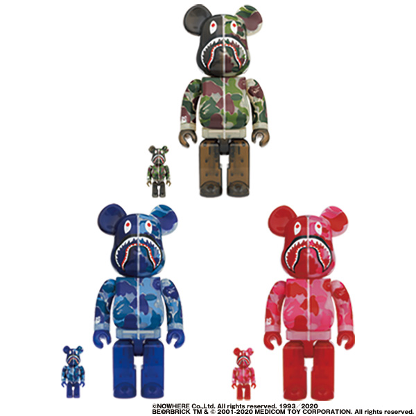 BE@RBRICK CLEAR ABC CAMO SHARK 100% & 400% GREEN/BLUE/PINK