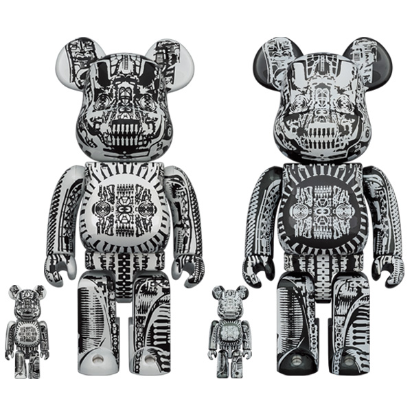 BE@RBRICK H.R.GIGER 100% & 400% WHITE CHROME Ver./BLACK CHROME Ver.