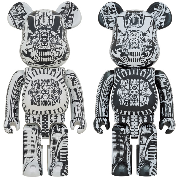 BE@RBRICK H.R.GIGER 1000% WHITE CHROME Ver./BLACK CHROME Ver.