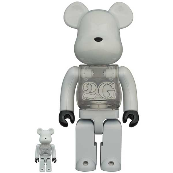 BE@RBRICK 2G WHITE CHROME 100% & 400%
