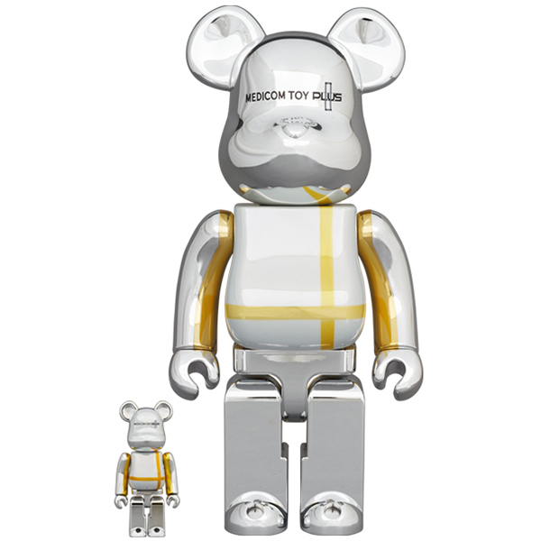 BE@RBRICK MEDICOM TOY PLUS SILVER CHROME Ver. 100% & 400%