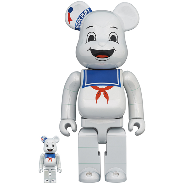 BE@RBRICK STAY PUFT MARSHMALLOW MAN WHITE CHROME Ver. 100% & 400%